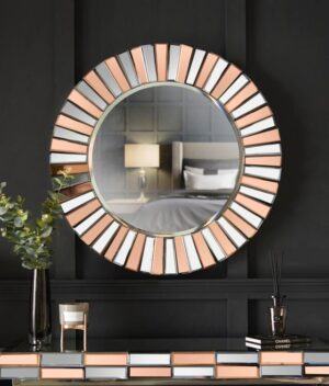 Knightsbridge round mirror rosegold