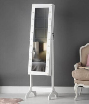 Ritz White Mirror Jewellery Cabinet with Lights