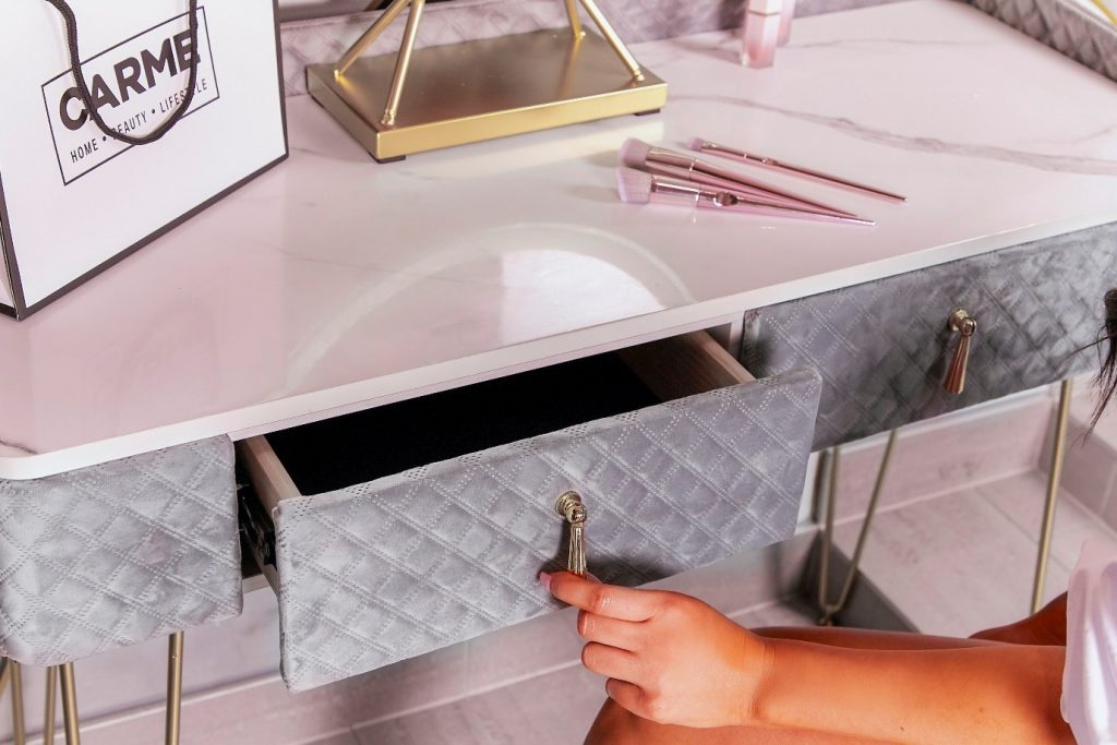 velvet dressing table drawer